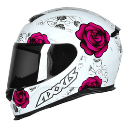Capacete-Axxis-Eagle-Flowers-branco-rosa